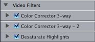 A stack of three filters in Final Cut Pro