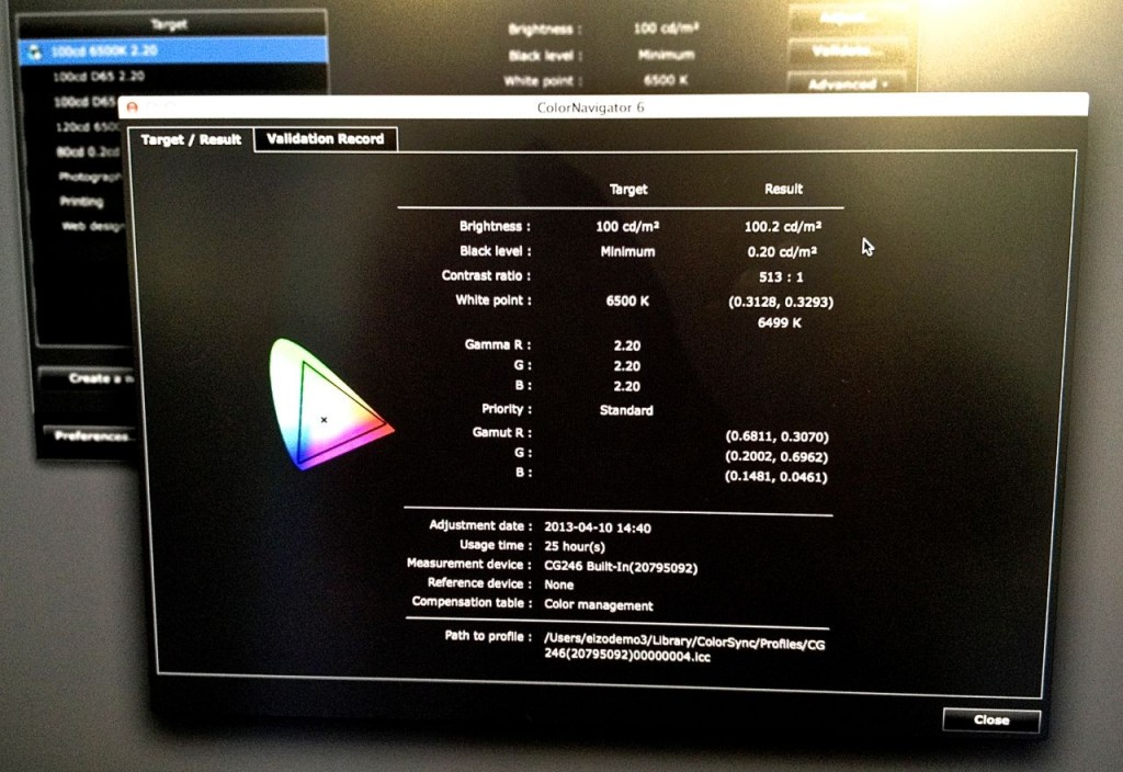 Eizo calibration report