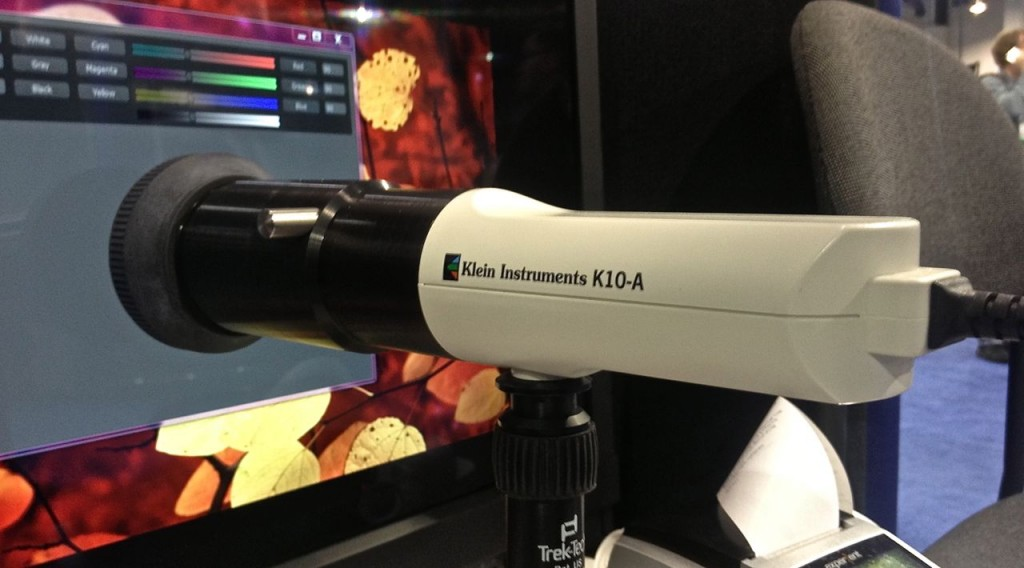 The Klein K10-A colorimeter, taking a reading