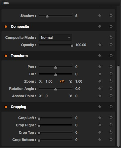 Composite and transform settings are available in the Inspector for blending and flying text effects around.