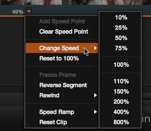 The pop-up menu you use to add speed handles and choose from preset speed settings.