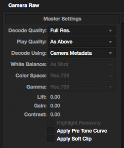 Camera raw settings for CinemaDNG