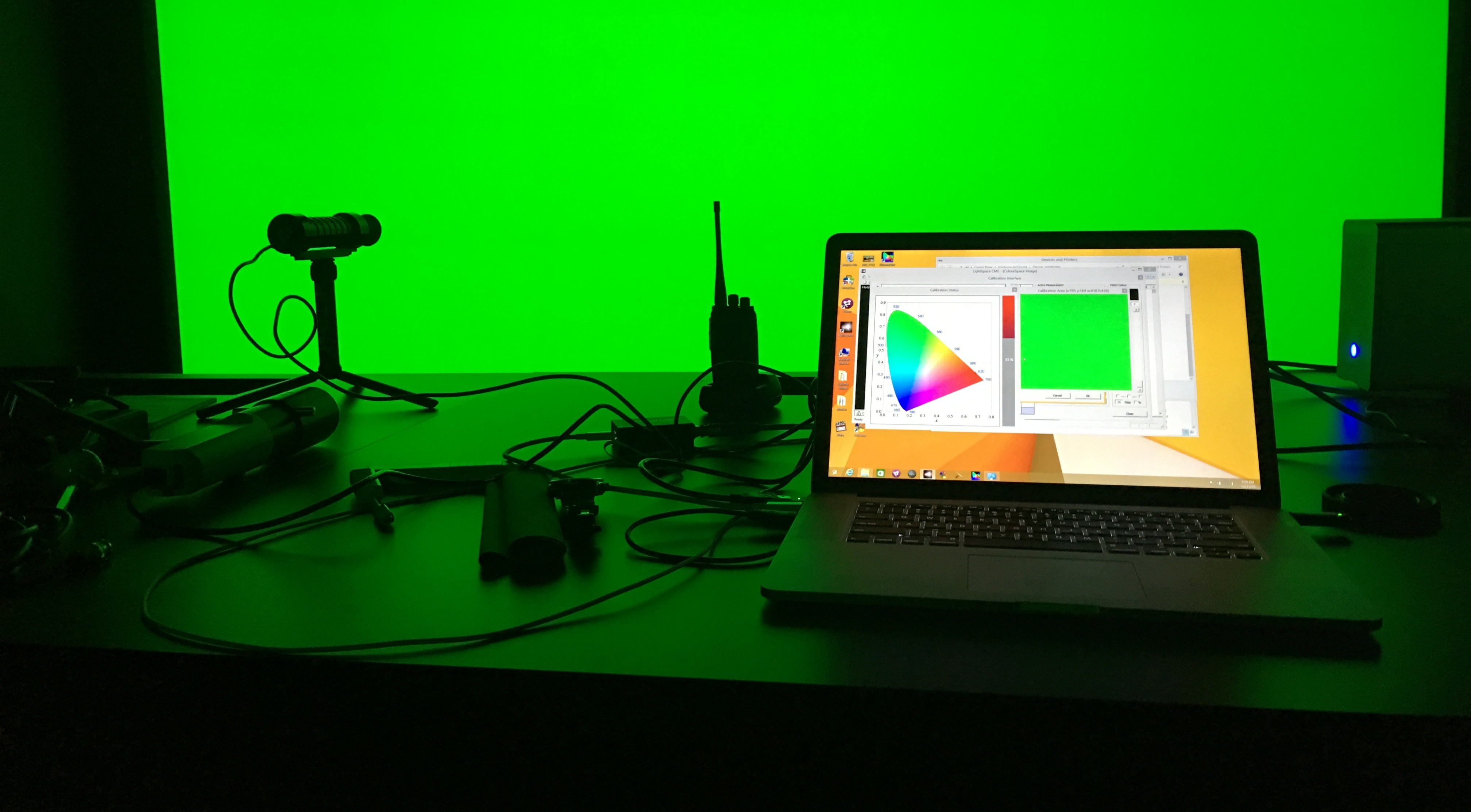 Using the CR-250 with LightSpace to calibrate a theater screen.