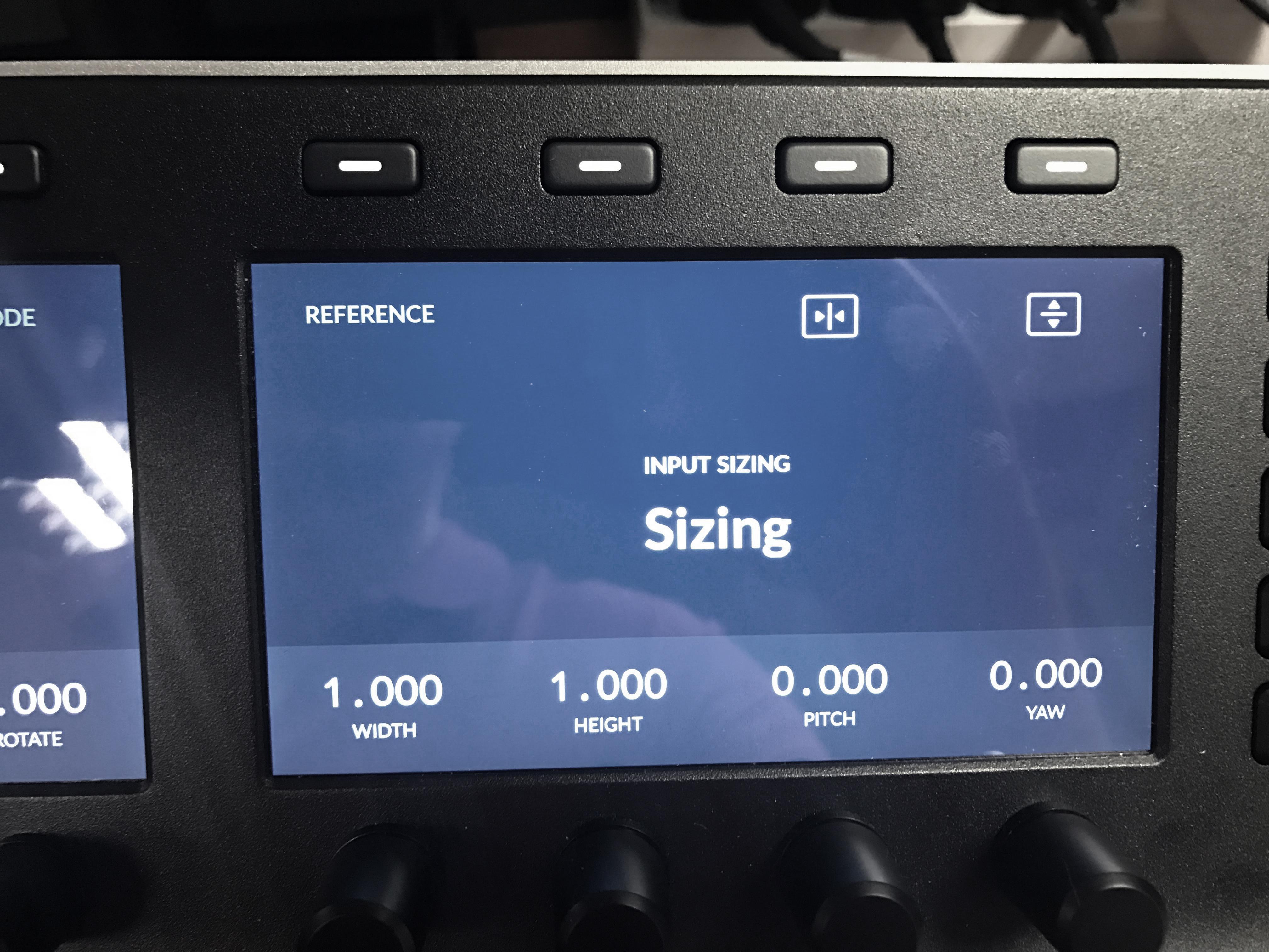 The sizing menu in the DaVinci Resolve Mini Panel