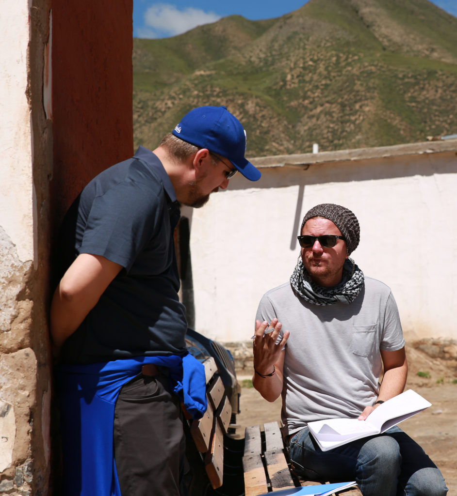 Director Alexis Van Hurkman and DP Bo Hakala taking a moment to discuss coverage