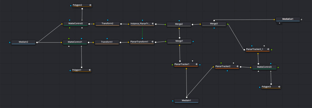 Fusion node graph to combine two takes
